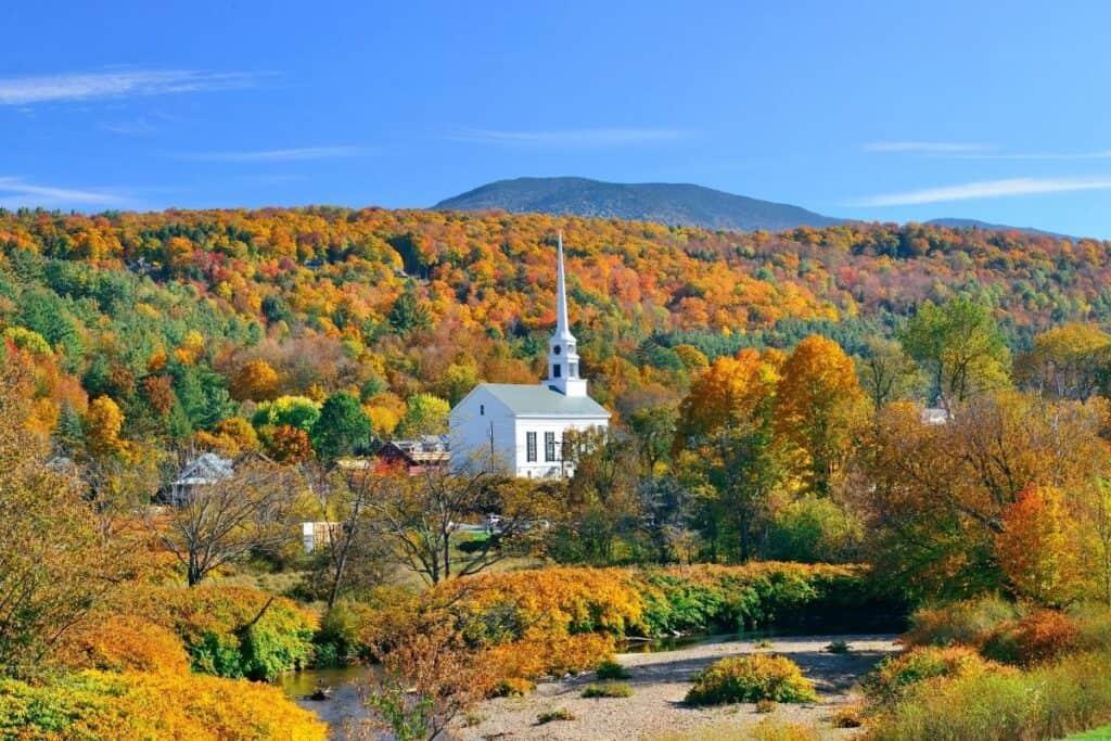 Fall Foliage Church Stowe Vermont