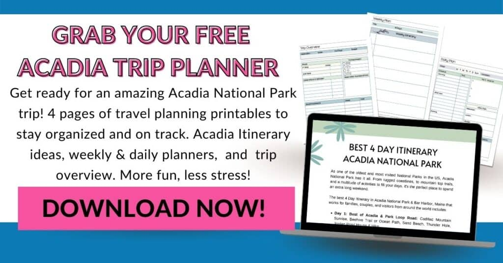 4 Pages of Freebies. Text overlay;Grab Your Free Acadia Trip Planner. Get ready for an amazing trip with 4 pages of travel planning printables.