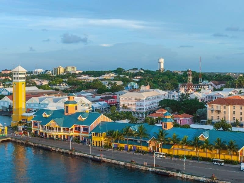 Waterfront building in the port area of Nassau, Bahamas