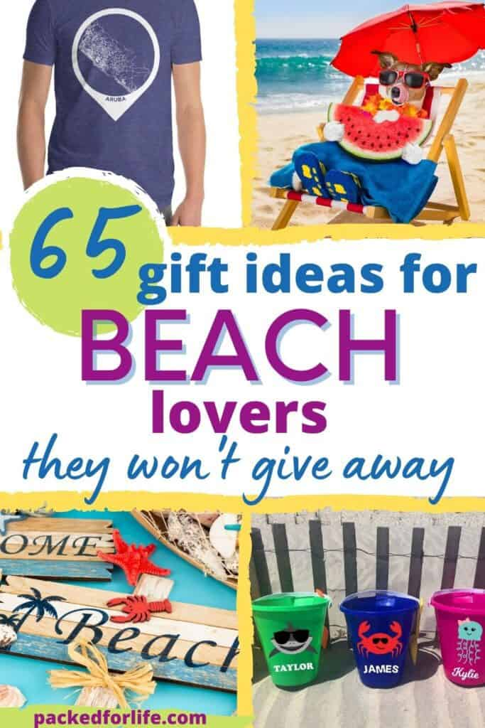 Four beach themed gift ideas. Dog lounging in chair at beach, map t-shirt. Plastic beach buckets and welcome beach sign.