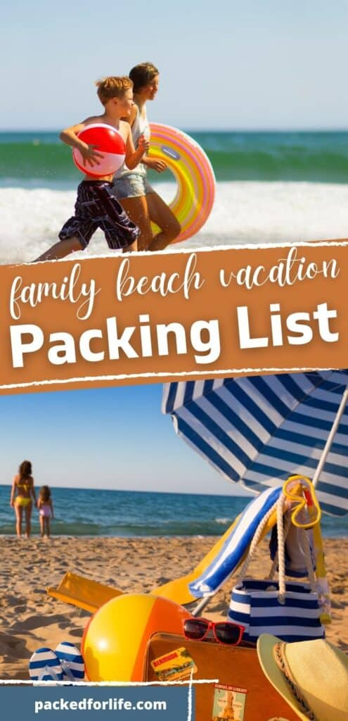 Family Beach Vacation Packing list. 2 kids running on the beach. Empty Beach chair and umbrella, on the sand, with a woman and young child standing by the ocean in the background.