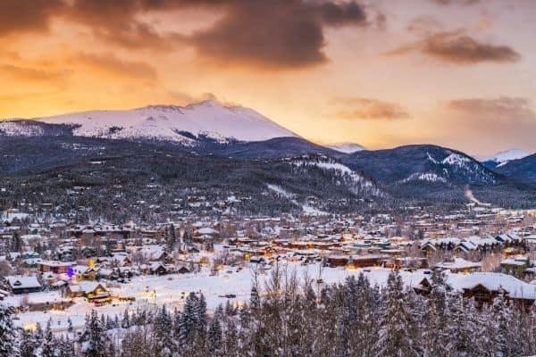 Breckenridge, Colorado ski resort skyline at dusk