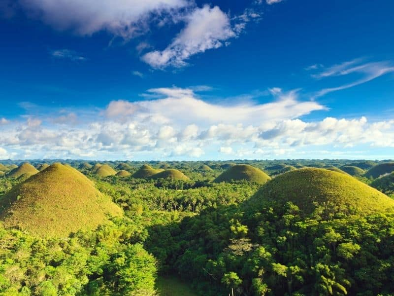 View of many small hills in Bohol, Phillippines