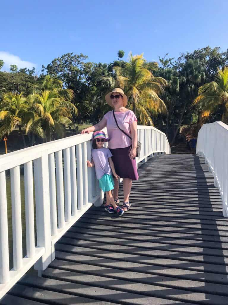 Woman and young child standing on a foot bridge with palm trees in the background.