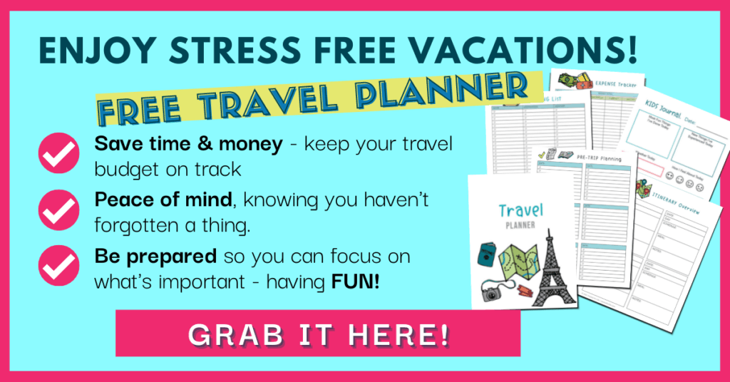 Enjoy Stress Free Vacations with a free travel planner. Grab it here. % planner pages spread out.