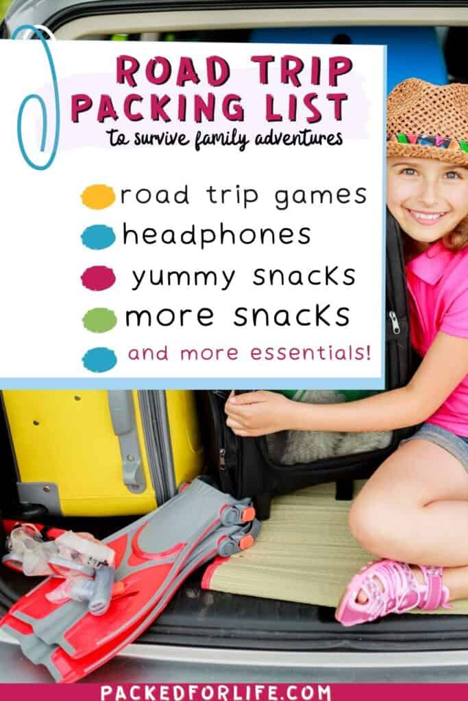 A Family Road Trip Packing list in front of a young girl in the back of a car beside luggage.