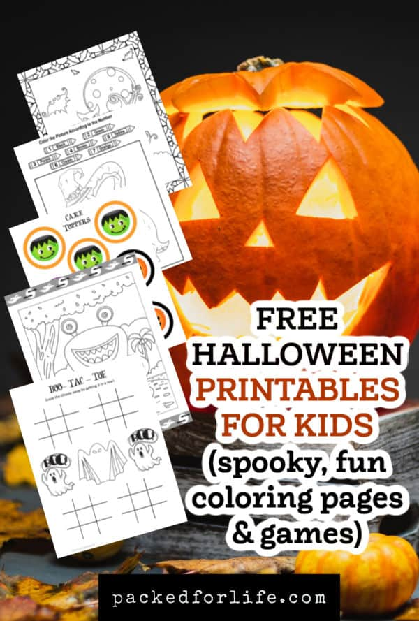 Free Halloween Printable coloring sheets fanned out over jack o lanterm