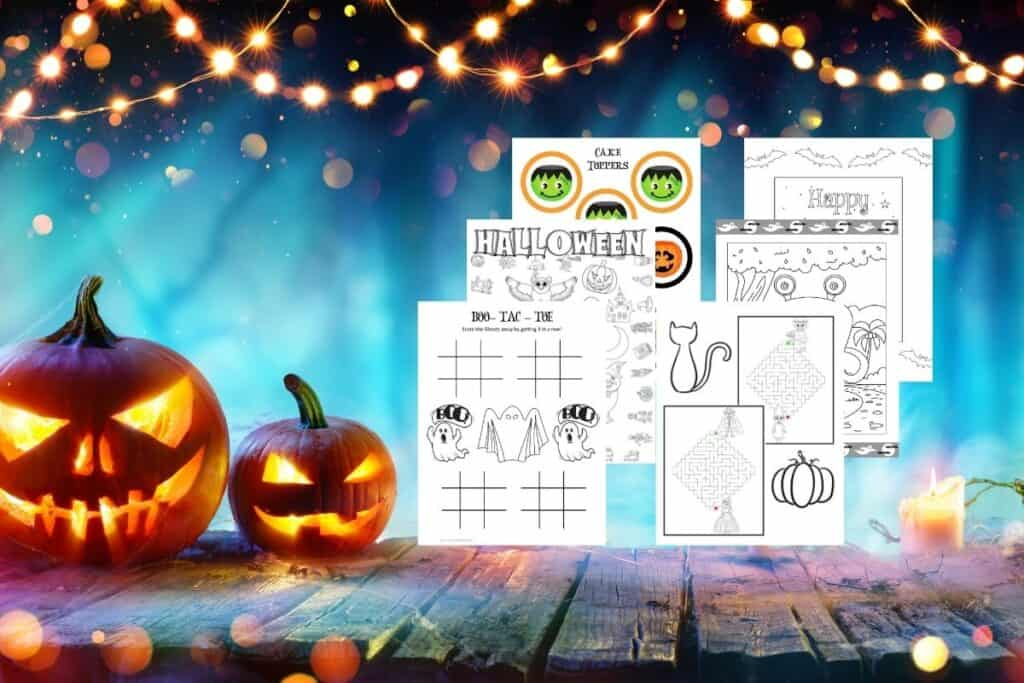 Two lit Jack o' Lanterns sitting on a wooden table. 6 pages pf free Halloween printables ovelayed on top.
