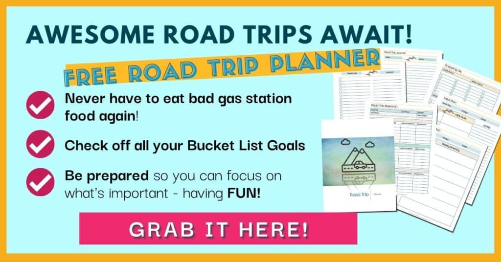 Awesom Road Trips Await! Free road trip planner printable pages fanned out. Grab them here!