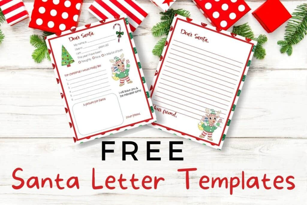 Two Free Santa Templates over wood background with presents and fir branches