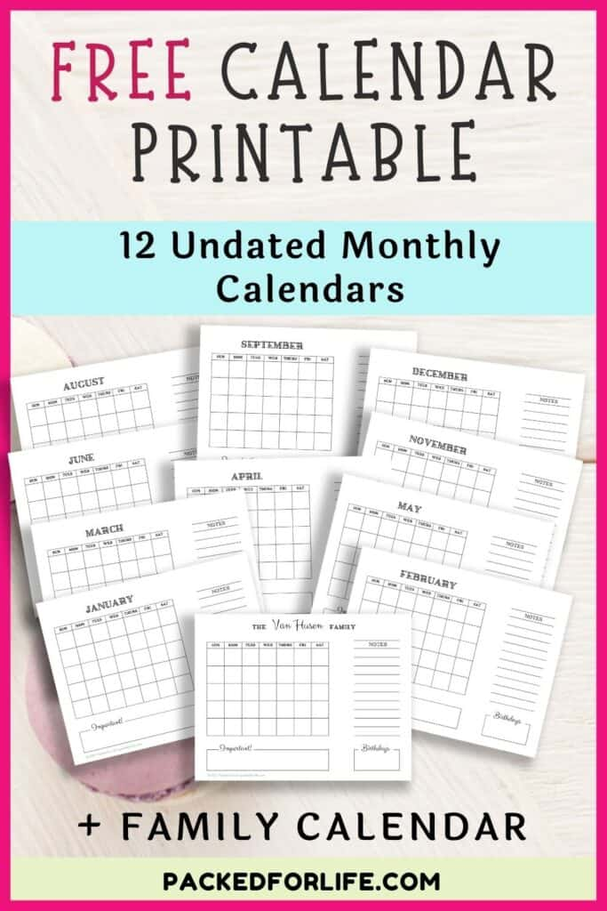 12 undated monthly calendar pages fanned out. Free Calendar printable.