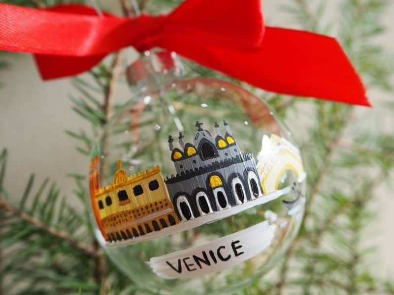 Hand Painted Ornament with Venice buidlings
