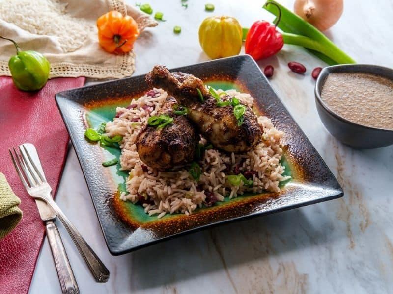 Jamaican Jerk chicken on bed of rice.
