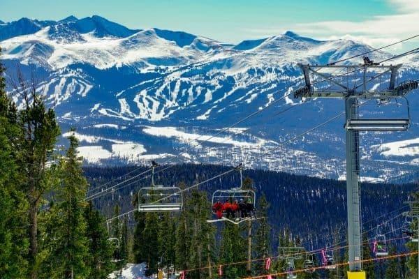 Ski Lift Keystone Mountain, CO Rockies in the distance.