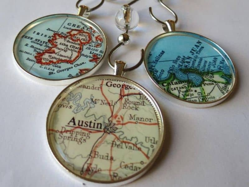 Vintage Map Ornament wrapped in glass and frame