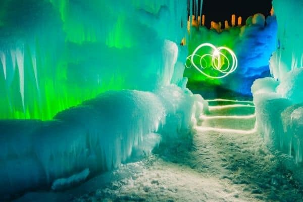 Ice Castle lit up at night