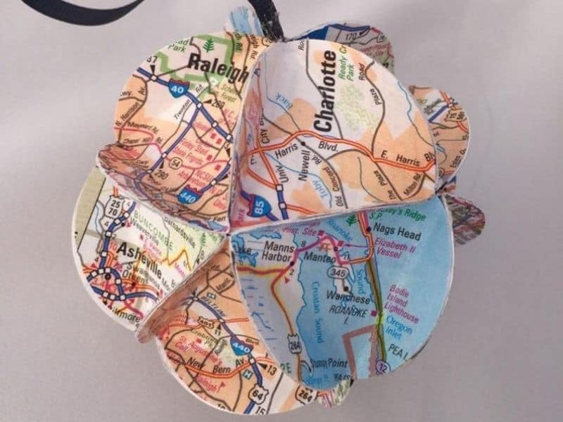 Paper Map Ornament North Carolina