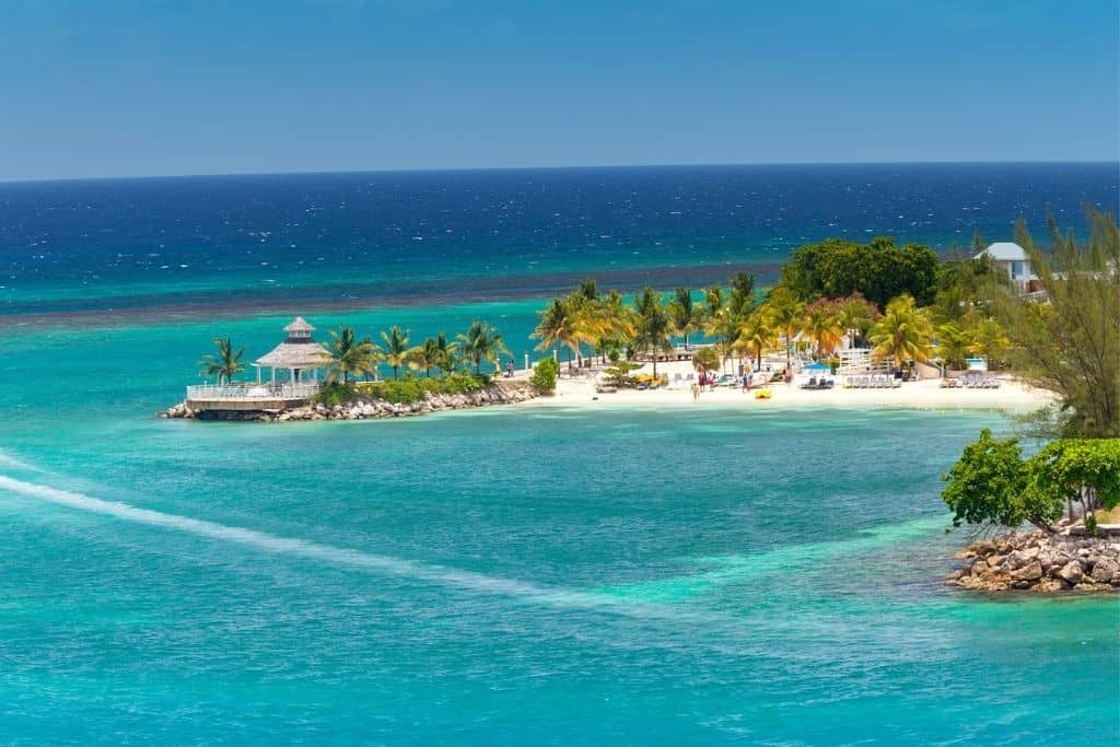 Ocho Rios, Jamiaca. Island with resort, surrounded by ocean.