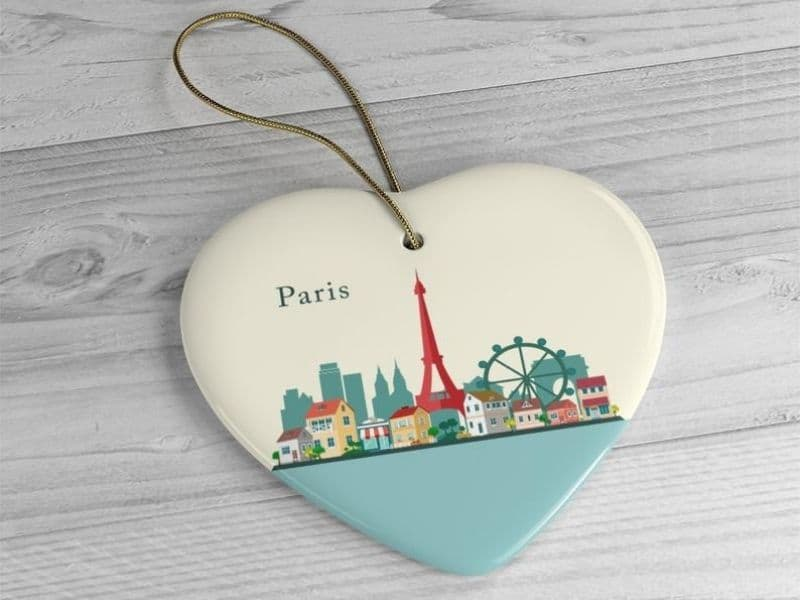 Heart Shaped Ceramic ornament, Paris buildings