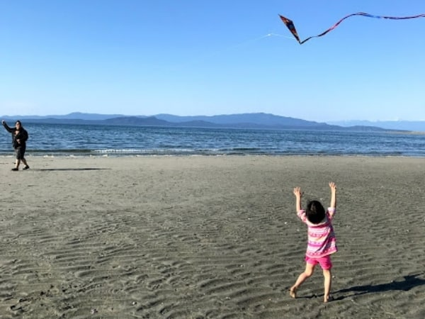 Family Bucket List idea, flying a kite.  Adult flying a kite, young girl reching to the sky for kite.