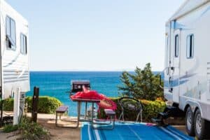 Ocean view between two RVs.