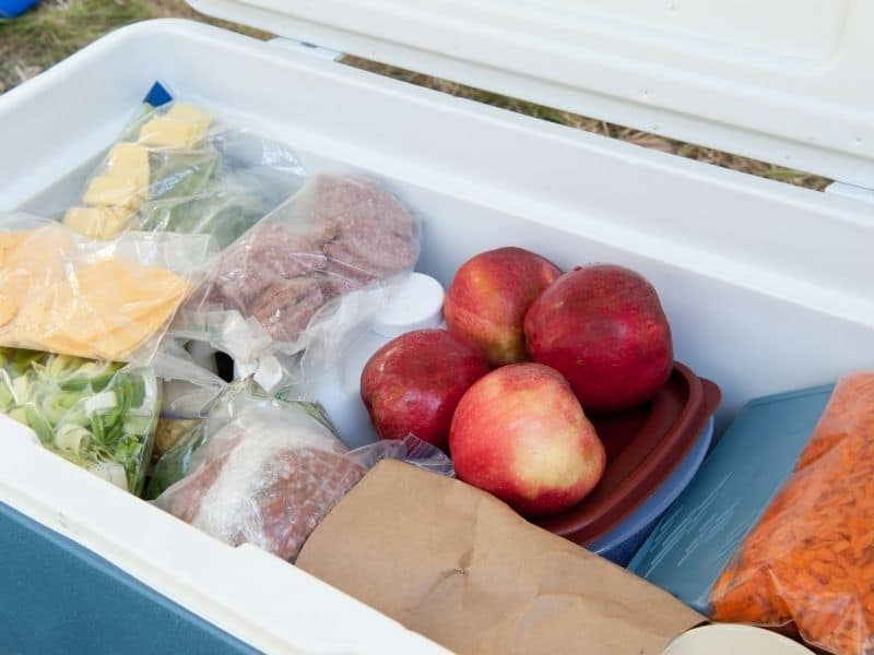 Road Trip Cooler full of food, apples, deli meat, cheese, carrots.
