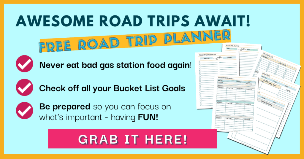 Six free road trip planner pages fanned out over colored background. Awesome road trips await. Never eat bad gas station food again. Check off all your bucket list goals. Be prepared so you can focus on what's important - having fun!. Grab it heree.