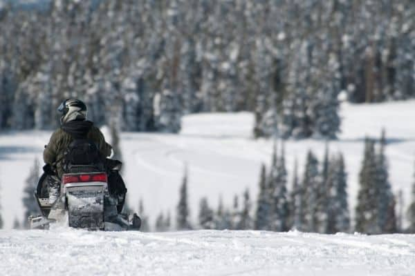 Man on snowmobile at top of snowy hill, trees in background