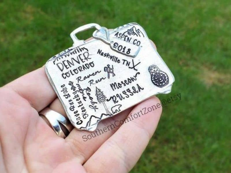 pewter suitcase ornament