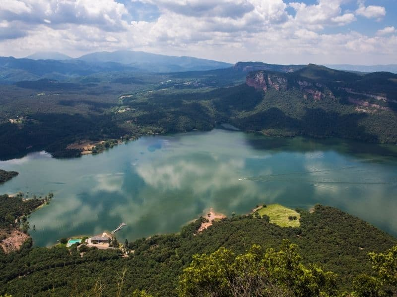 Aerial view of Taal Lake and Volcano, family destination idea, Philippines.