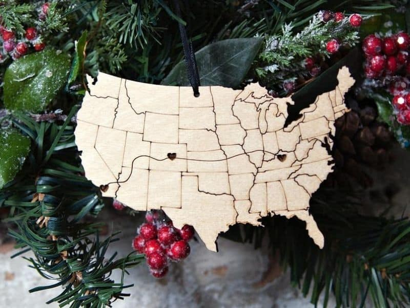 USA shaped Wooden Ornament