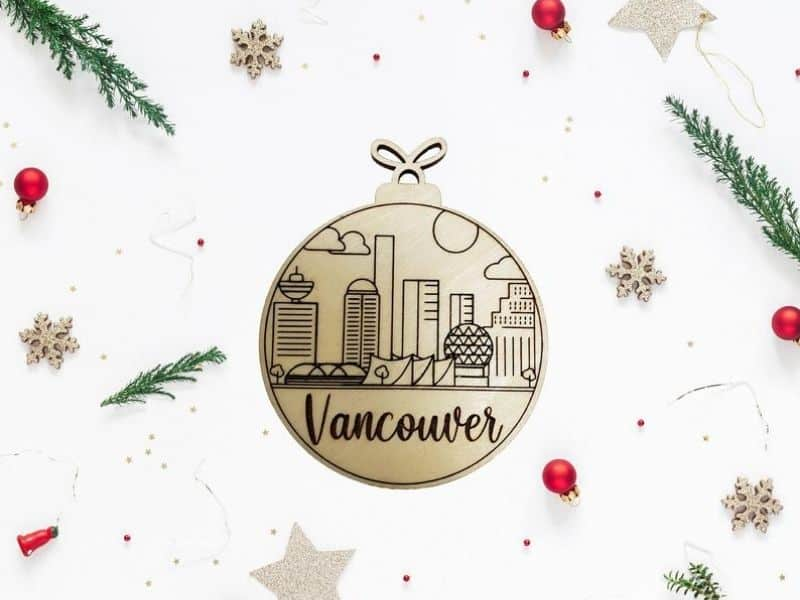 Round Wooden Ornament with Skline Vancouver buildings