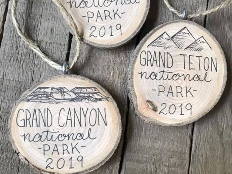 Wooden round National Park Ornament