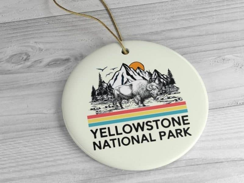 Yellowston National Park Ornament, ceramic, bison and mountain