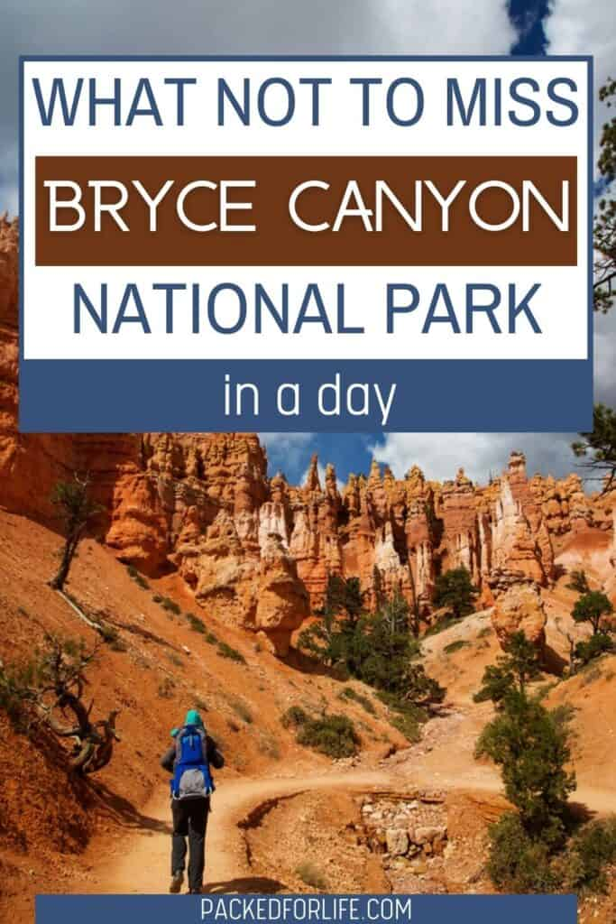 Adult carrying a child in a backpack. Hiking along trail and hoodoos in Bryce Canyon, Utah.